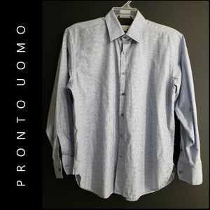 Pronto Uomo Men Pinstripe Button Front Dress Shirt